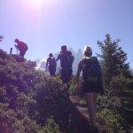Hiking to the via ferrata course.