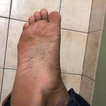 After 1 minute of my walk, dirt on my foot