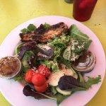 house salad with blackened mahi mahi