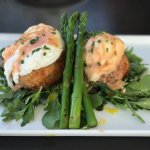 The best eggs Benedict I've ever enjoyed!!  With delicious crab cakes and blood-orange hollandai