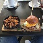 Three little piggies breakfast sandwich:  3types of pork:  bacon + ham + prosciutto, also includ