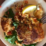 Abundance of pepper chunks clearly visable in these crab cakes.