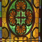 The stained glass front door