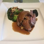 Main course - toast Cornish lamb, with broccoli and root vegetables - excellent