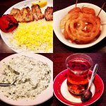 Kebab Barg (lamb) Borani (yoghurt with spinach & garlic) persian tea & sweets