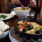 assam laksa and tofu + vege claypot