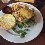 Angus Burger with cheese, Buffalo Chicken sandwich and the Steak Salad!!!