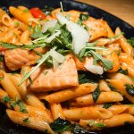 Penne with salmon.