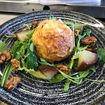 Lincolnshire Poacher souffle with pear & walnut salad