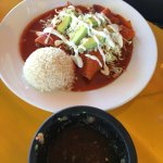 The Enchiladas with red sauce