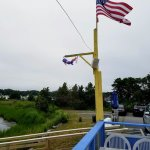 Flag flies proudly over back deck