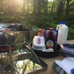 Getting ready to cook breakfast in our campsite.