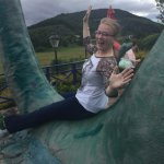 Sliding down the giant Nessie outside!