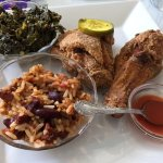 Excellent low country chicken, beans & rice, collards and hot sauce