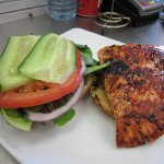 Maple Glazed Salmon Burger.