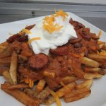 Cheesy Chili Fries. Made with our home made chili.