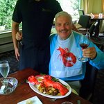 Me with our excellent server, Matt Walerski, along with my lobster feast!