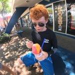 My kid enjoying his ice