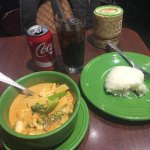 Red curry chicken with sticky rice