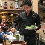 Caesar salad prepared table side at Two Lucas San Miguel