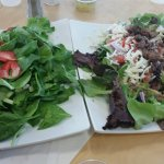 On the left the Strawberry and Spinach salad. On the right the Chimicurri Steak salad