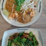 Top Pad Thai with shrimp . Bottom Ka Na Mu Krob