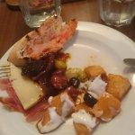 Tapas: Champiñones Rellenos,Patatas Bravas, Jamon & bread/olives