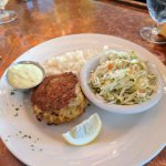 Crab cakes, coleslaw and hominy