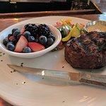 Steak, fresh fruit and steamed veggies