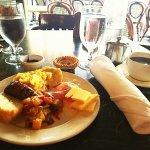toast, alligator sausage, skillet potatoes, charcuterie, scambled eggs, quiche, blackberry jam