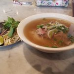 pho with brisket and meatballs