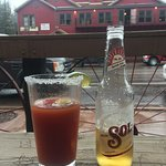 Sol beer with salty rim and tomato juice!