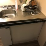 Here is your 60s decrepit kitchenette for $170/night! YUCK!