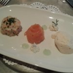 appetizer. variety of salmon served during the gala dinner