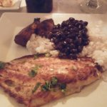 grilled grouper with black beans and rice and plantains