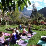 The garden is a beautiful place to practice yoga