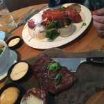 We enjoyed a lobster and a 200 gr TFC steak