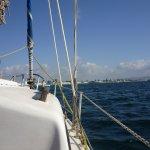 Vue de l'avant du bateau de Morizio et toit de la petite cabine