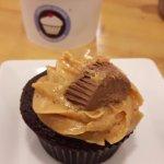 Peanut butter cupcake and ice cream