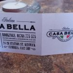 Name card of restaurant