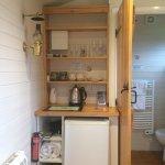 Tea and coffee in Shepherd's Hut, door to bathroom