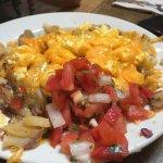 Potatoes Ranchero and Cinnamon Roll