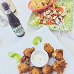 conch fritters and ceviche