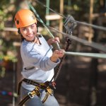 Girl on challenge course