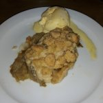 A 'blob' of rhubarb crumble