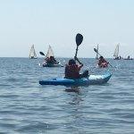 Some of the kids enjoying kayaking around Cedar Island