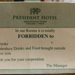 Hotel stricture on what not to take in the room