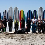 Teaching this awesome big group how to surf.