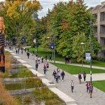 University Boulevard water feature and the Musqueam sʔi:ɬqəy̓ qeqən (double-headed serpent post)