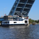 The Princess Wenonah passing through the Veteran's Memorial Bridge on Saginaw River, Bay City MI